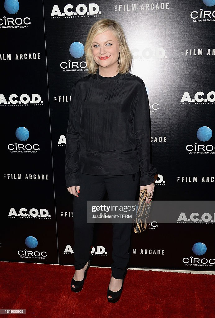 Actress <a gi-track='captionPersonalityLinkClicked' href=/galleries/search?phrase=Amy+Poehler&family=editorial&specificpeople=228430 ng-click='$event.stopPropagation()'>Amy Poehler</a> attends the premiere of The Film Arcade's 'A.C.O.D.' at the Landmark Theater on September 26, 2013 in Los Angeles, California.