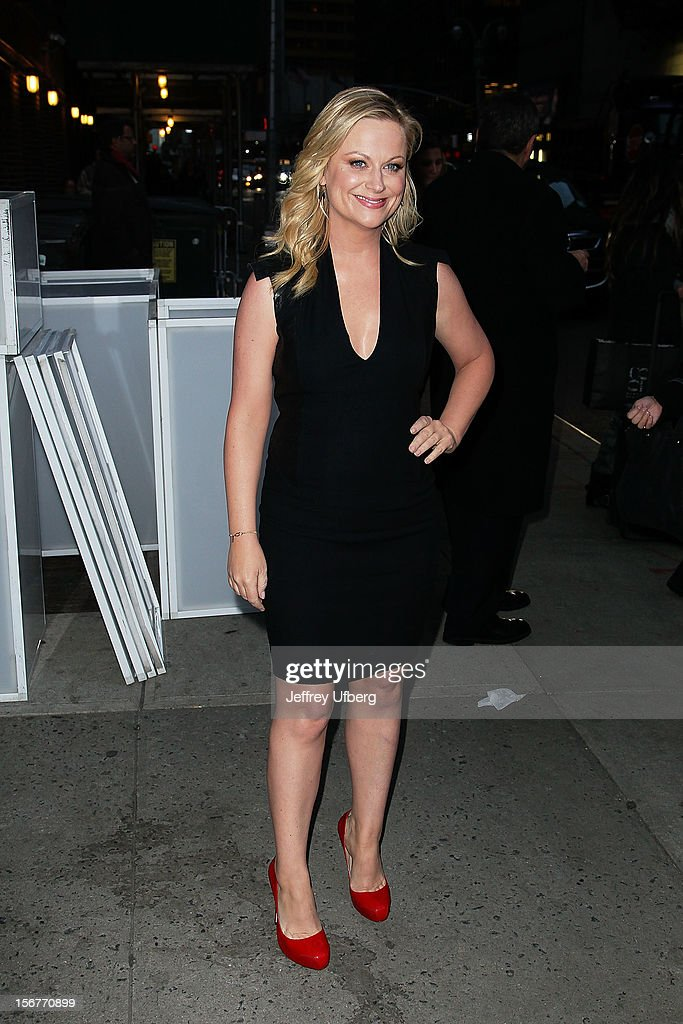 Actress <a gi-track='captionPersonalityLinkClicked' href=/galleries/search?phrase=Amy+Poehler&family=editorial&specificpeople=228430 ng-click='$event.stopPropagation()'>Amy Poehler</a> departs 'Late Show with David Letterman' at Ed Sullivan Theater on November 20, 2012 in New York City.