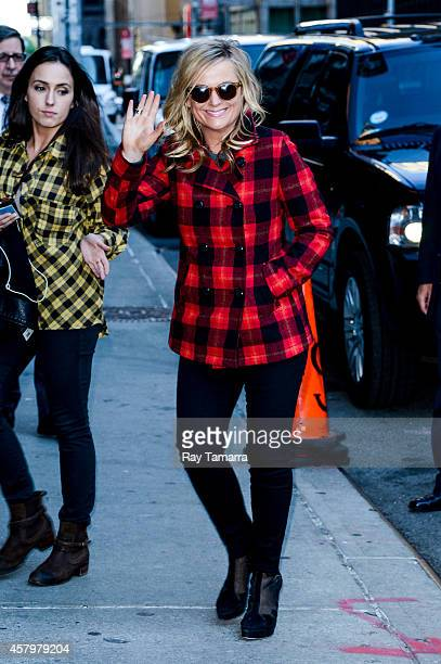 Actress Amy Poehler enters the 'Late Show With David Letterman' taping at the Ed Sullivan Theater on October 27 2014 in New York City