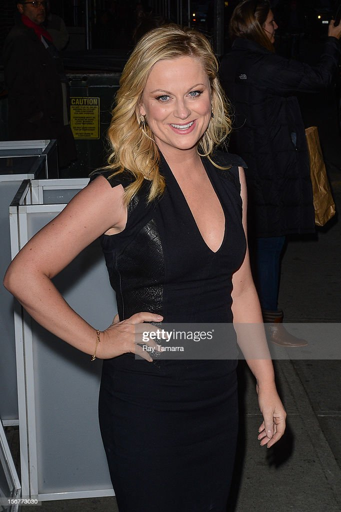 Actress <a gi-track='captionPersonalityLinkClicked' href=/galleries/search?phrase=Amy+Poehler&family=editorial&specificpeople=228430 ng-click='$event.stopPropagation()'>Amy Poehler</a> leaves the 'Late Show With David Letterman' taping at the Ed Sullivan Theater on November 20, 2012 in New York City.