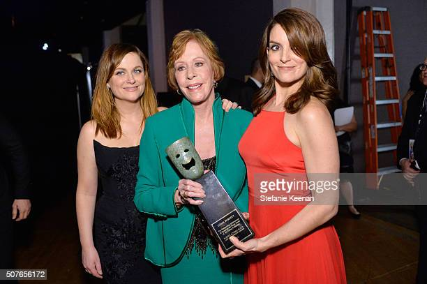 Actress Amy Poehler Life Achievement Award recipient Carol Burnett and actress Tina Fey attend The 22nd Annual Screen Actors Guild Awards at The...