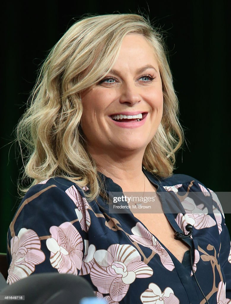 Actress Amy Poehler speaks onstage during the 'Parks and Recreation' panel discussion at the NBC/Universal portion of the 2015 Winter TCA Tour at the...