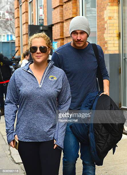 Actress Amy Schumer and Ben Hanisch are seen on set of 'Inside Amy Schumer' on February 4 2016 in New York City