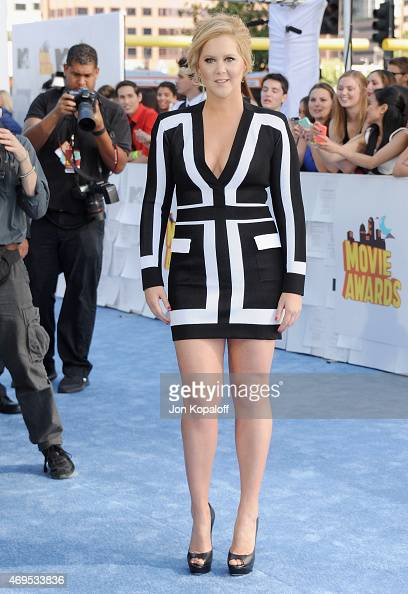 Actress Amy Schumer arrives at the 2015 MTV Movie Awards at Nokia Theatre LA Live on April 12 2015 in Los Angeles California