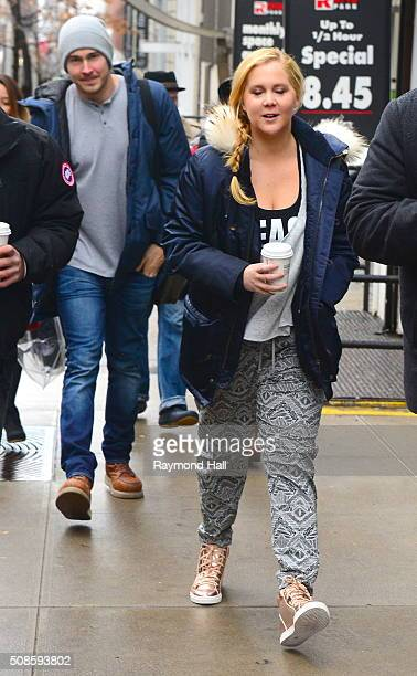 Actress Amy Schumer Ben Hanisch are seen on set of 'Inside Amy Schumer' on February 5 2016 in New York City
