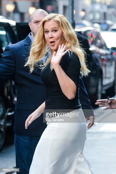 Actress Amy Schumer leaves the 'Good Morning America' taping at the ABC Times Square Studios on August 16 2016 in New York City