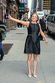Actress Amy Sedaris leaves the 'Late Show With David Letterman' taping at the Ed Sullivan Theater on April 15 2015 in New York City