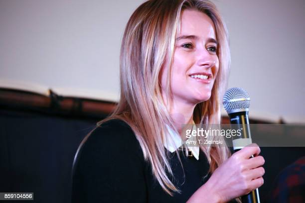 Actress Amy Shiels answers questions on stage during the Twin Peaks UK Festival 2017 at Hornsey Town Hall Arts Centre on October 8 2017 in London...