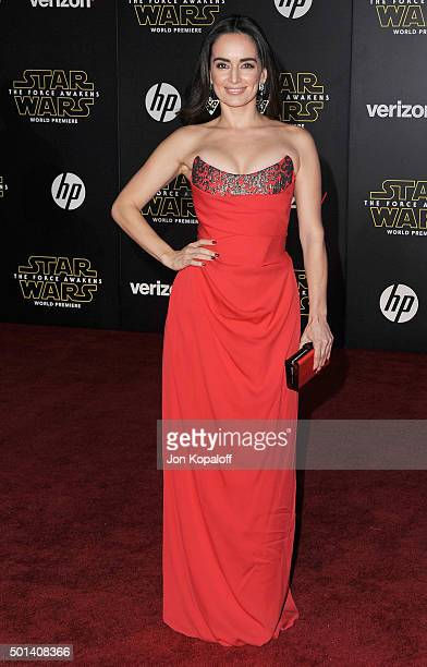 Actress Ana de la Reguera arrives at the Los Angeles Premiere 'Star Wars The Force Awakens' on December 14 2015 in Hollywood California