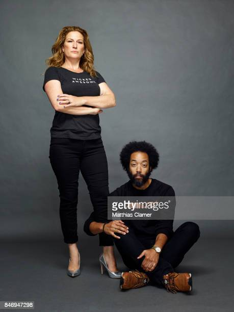 Actress Ana Gasteyer and actor Wyatt Cenac from 'People of Earth' are photographed for Entertainment Weekly Magazine on July 22 2016 at Comic Con in...