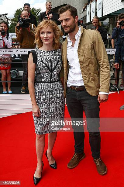 Actress Ana Geislerova and Actor Jamie Dornan walk the red carpet at the 50th Karlovy Vary International Film Festival on July 9 2015 in Karlovy Vary...