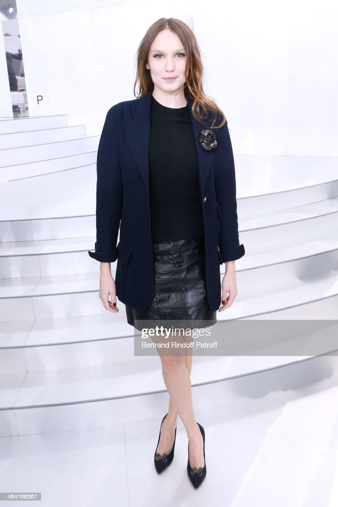 Actress <a gi-track='captionPersonalityLinkClicked' href=/galleries/search?phrase=Ana+Girardot&family=editorial&specificpeople=6991847 ng-click='$event.stopPropagation()'>Ana Girardot</a> attends the Chanel show as part of Paris Fashion Week Haute Couture Spring/Summer 2014 on January 21, 2014 in Paris, France.
