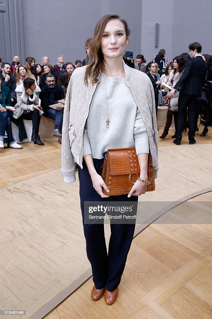 Actress <a gi-track='captionPersonalityLinkClicked' href=/galleries/search?phrase=Ana+Girardot&family=editorial&specificpeople=6991847 ng-click='$event.stopPropagation()'>Ana Girardot</a> attends the Chloe show as part of the Paris Fashion Week Womenswear Fall/Winter 2016/2017. Held at Grand Palais on March 3, 2016 in Paris, France.