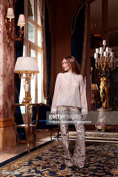 Actress Ana Girardot is photographed for Madame Figaro on June 2 2016 in the Psyché reception room at the newly renovated Ritz Hotel in Paris France...