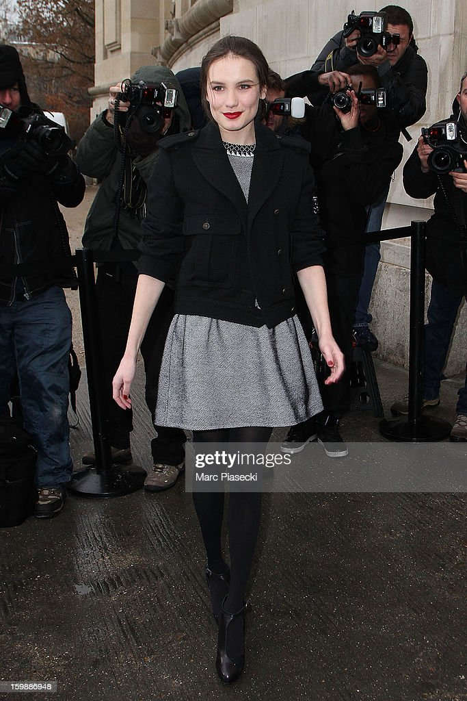 Actress Ana Girardot is seen arriving at the the Chanel Spring/Summer 2013 Haute-Couture show as part of Paris Fashion Week at Grand Palais on January 22, 2013 in Paris, France.