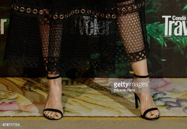 Actress Ana Polvorosa shoes detail attends the 'Conde Nast Traveler awards' photocall at Ritz hotel on May 4 2017 in Madrid Spain