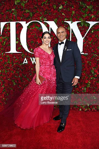 Actress Ana Villafane and Christopher Jackson attends the 70th Annual Tony Awards at The Beacon Theatre on June 12 2016 in New York City