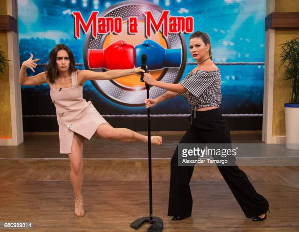 Actress Anabell Gardoqui 'Ana' de la Reguera and Ana Patricia Gamez are seen on the set of 'Despierta America' at Univision Studios on May 9 2017 in...