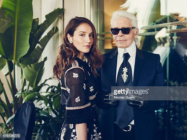 Actress Anais Demoustier and designer Karl Lagarfeld are photographed for Self Assignment on May 15 2015 in Cannes France
