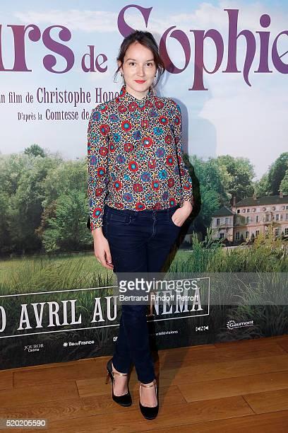 Actress Anais Demoustier attends 'Les Malheurs de Sophie' Paris Premiere At Pathe Grenelle on April 10 2016 in Paris France