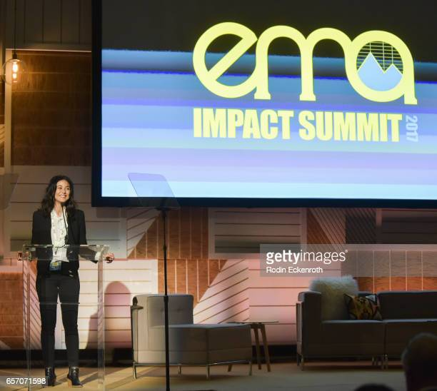 Actress and activist Emmanuelle Chriqui speaks onstage at the EMA Impact Summit at Montage Beverly Hills on March 23 2017 in Beverly Hills California