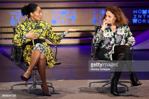 Actress and activist Tracee Ellis Ross and fashion designer and founder and cochairman at DVF Studio Diane von Furstenberg speak on stage at the 8th...