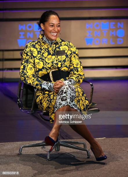 Actress and activist Tracee Ellis Ross speaks on stage at the 8th Annual Women In The World Summit at Lincoln Center for the Performing Arts on April...