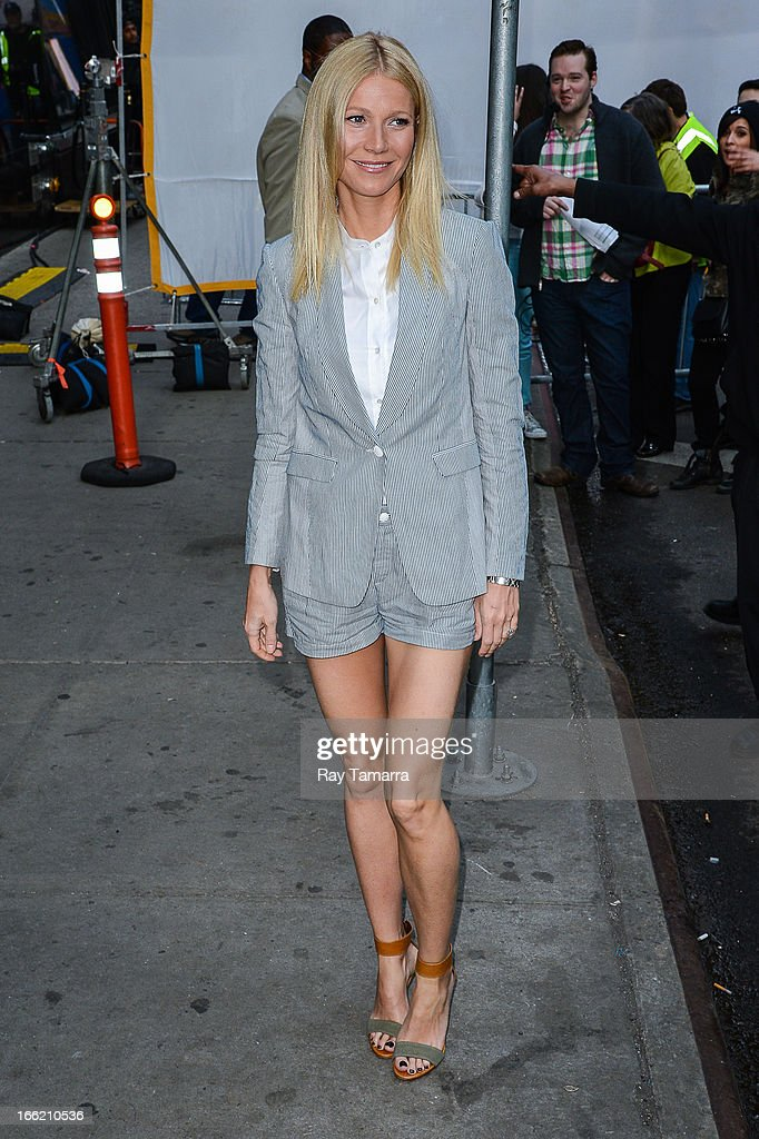 Actress and author Gwyneth Paltrow enters the 'Good Morning America' taping at the ABC Times Square Studios on April 10 2013 in New York City