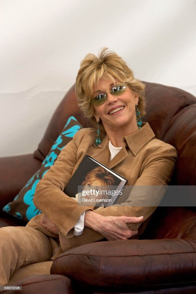 Actress and author Jane Fonda poses for a portrait at 'The Guardian Hay Festival 2005' held at Hay on Wye on June 5, 2005 in Powys, Wales. The festival runs until June 5. She is promoting her new book 'My Life So Far'.
