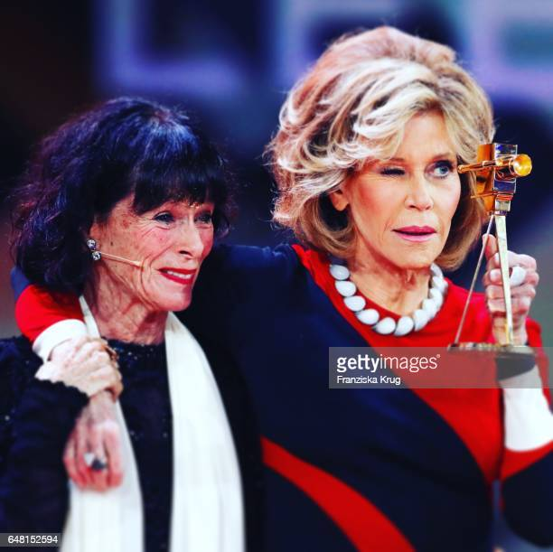 US actress and award winner Jane Fonda and US actress Geraldine Chaplin during the Goldene Kamera show on March 4 2017 in Hamburg Germany