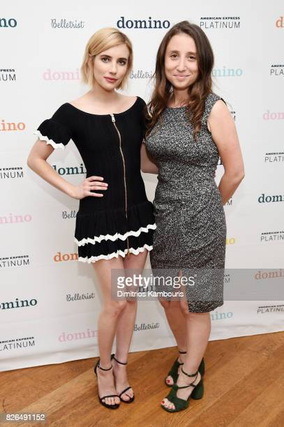 Actress and Belletrist cofounder Emma Roberts and Belletrist cofounder Karah Preiss attend Domino x American Express Platinum on August 4 2017 in...