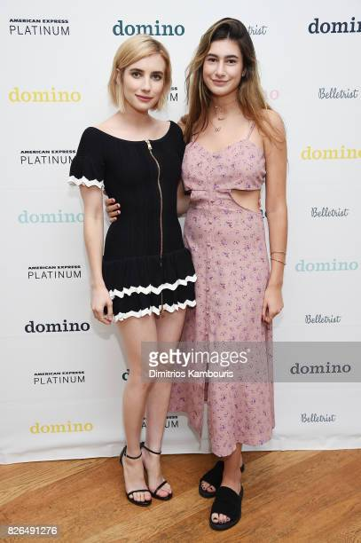 Actress and Belletrist cofounder Emma Roberts and Grace Nickels attend Domino x American Express Platinum on August 4 2017 in Bridgehampton New York