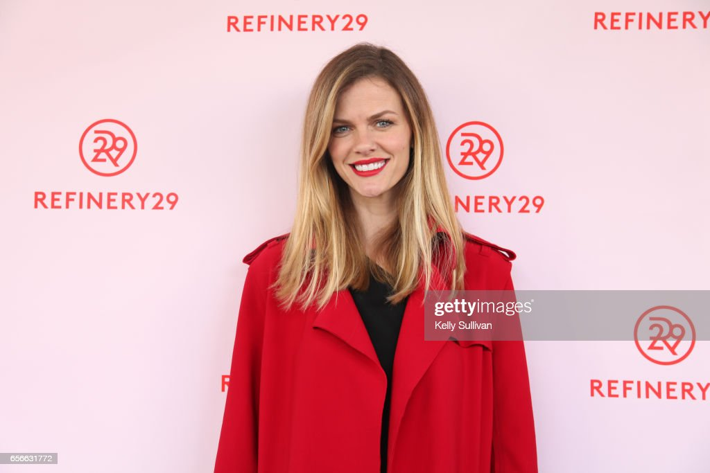 Actress and Chief Design Officer of Finery.com Brooklyn Decker poses for photos outside Refinery29's HER BRAIN Insights panel at Hint Water Headquarters on March 22, 2017 in San Francisco, California.