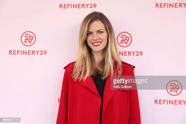 Actress and Chief Design Officer of Finerycom Brooklyn Decker poses for photos outside Refinery29's HER BRAIN Insights panel at Hint Water...