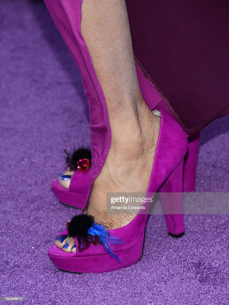 Actress and comedian Kym Whitley (shoe detail) arrives at the Jenesse Center's 2013 Silver Rose Gala & Auction at Vibiana on April 6, 2013 in Los Angeles, California.