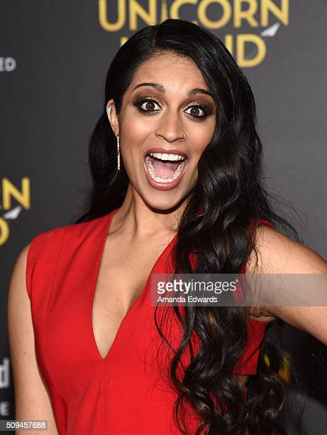 Actress and comedian Lilly Singh arrives at the premiere of 'A Trip To Unicorn Island' at TCL Chinese Theatre on February 10 2016 in Hollywood...