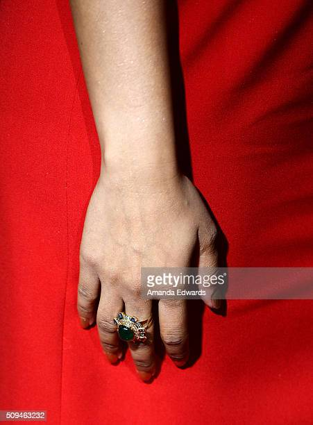 Actress and comedian Lilly Singh ring detail arrive at the premiere of 'A Trip To Unicorn Island' at TCL Chinese Theatre on February 10 2016 in...