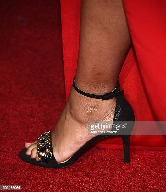 Actress and comedian Lilly Singh shoe detail arrives at the premiere of 'A Trip To Unicorn Island' at TCL Chinese Theatre on February 10 2016 in...