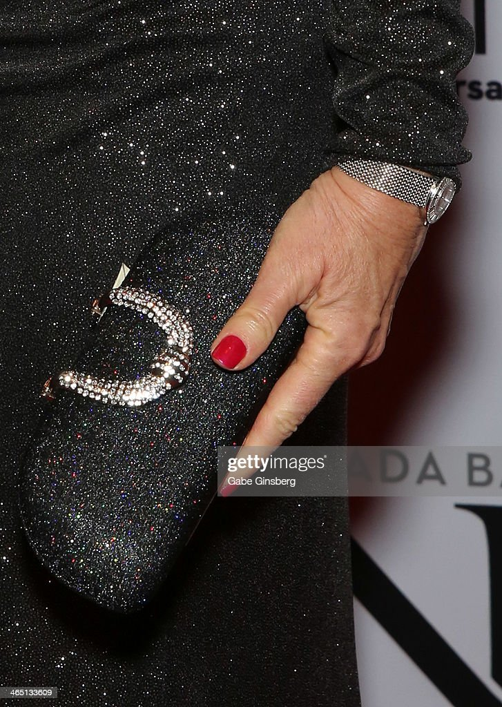 Actress and comedian <a gi-track='captionPersonalityLinkClicked' href=/galleries/search?phrase=Rita+Rudner&family=editorial&specificpeople=540281 ng-click='$event.stopPropagation()'>Rita Rudner</a> (purse and nails detail) arrive at Nevada Ballet Theatre presents 'The Black & White Ball's 30th Anniversary' at the Aria Resort & Casino at CityCenter on January 25, 2014 in Las Vegas, Nevada.