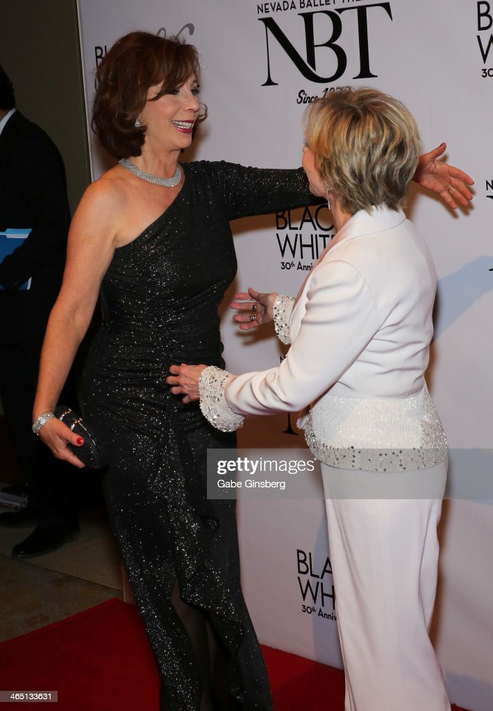 Actress and comedian <a gi-track='captionPersonalityLinkClicked' href=/galleries/search?phrase=Rita+Rudner&family=editorial&specificpeople=540281 ng-click='$event.stopPropagation()'>Rita Rudner</a> (L) hugs actress <a gi-track='captionPersonalityLinkClicked' href=/galleries/search?phrase=Florence+Henderson&family=editorial&specificpeople=171392 ng-click='$event.stopPropagation()'>Florence Henderson</a> at Nevada Ballet Theatre presents 'The Black & White Ball's 30th Anniversary' at the Aria Resort & Casino at CityCenter on January 25, 2014 in Las Vegas, Nevada.