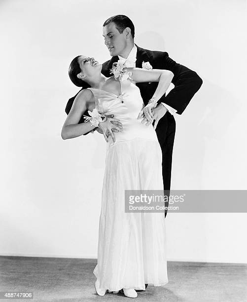 Actress and dancer Rita Hayworth and Gary Leon pose for a publicity still for the Fox Film Corporation movie 'Dante's Inferno' in 1935