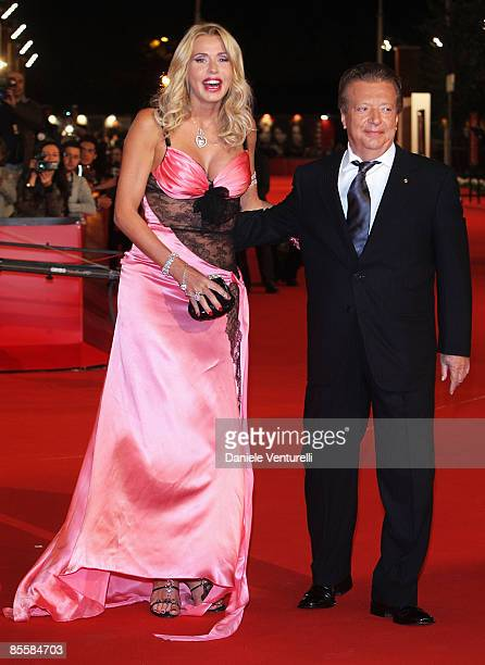 Actress and designer Valeria Marini and producer Vittorio Cecchi Gori arrive at the Marc'Aurelio Acting Award during the 3rd Rome International Film...