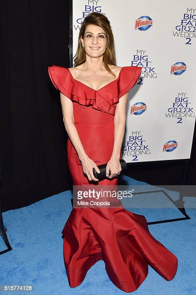Actress and director Nia Vardalos arrives at the premiere of My Big Fat Greek Wedding 2 sponsored by Windex in New York City on March 15 2016...