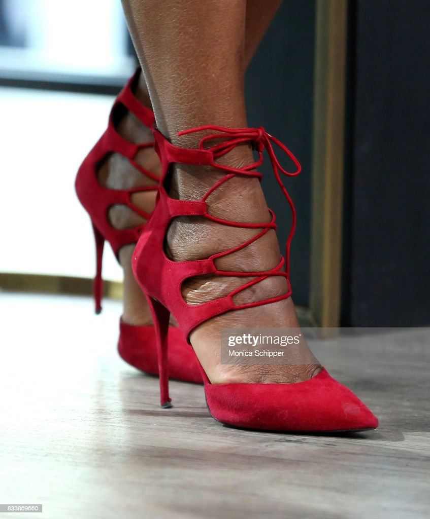 Actress and director Tasha Smith, shoe detail, discusses her directorial debut with TV One's 'When Love Kills' at Build Studio on August 17, 2017 in New York City.