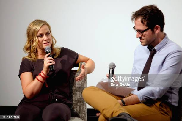 Actress and executive producer Amy Poehler and senior editor at Vulture Jesse David Fox speak onstage during Vulture Hulu's screening of 'Difficult...