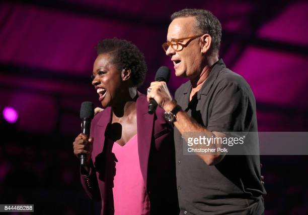 Actress and Executive Producer of EIF Presents XQ Super School Live Viola Davis and Tom Hanks speak onstage during the XQ Super School Live presented...