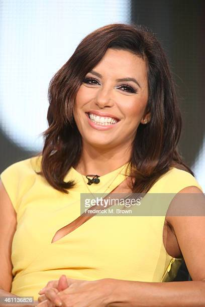 Actress and Executive Producer of 'Vs' Eva Longoria speaks onstage during the ESPN Films panel of the 2015 Winter Television Critics Association...
