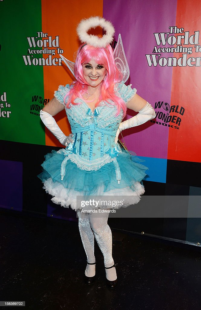 Actress and former MTV VJ Uptown Julie Brown arrives at the World Of Wonder book release party/birthday bash at The Globe Theatre at Universal Studios on December 13, 2012 in Universal City, California.