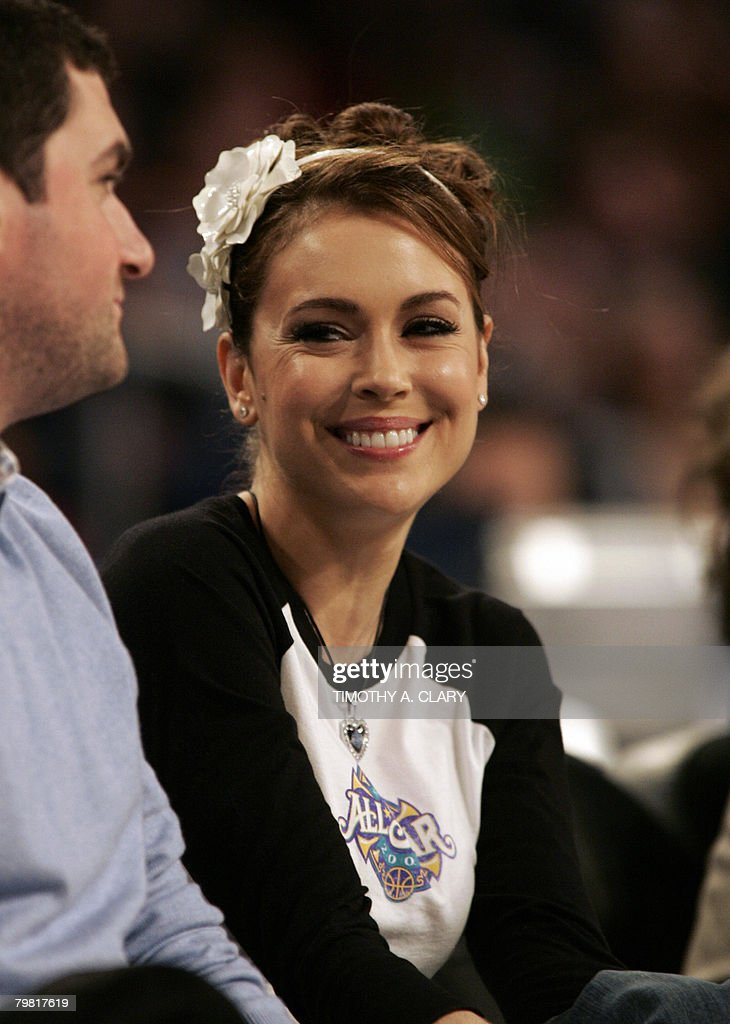 US actress and former singer Alyssa Milano is pictured during the 2008 NBA All-Star Game February 17, 2008 in New Orleans, Louisiana at the New Orleans Arena. The East beat the West 134-128.