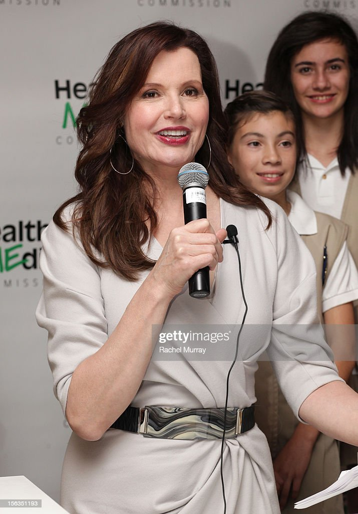 Actress and Founder Geena Davis speaks during the Geena Davis Institute On Gender In Media cocktail reception at SLS Hotel on November 13, 2012 in Beverly Hills, California.